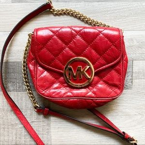 Michael kors red gold leather quilted crossbody